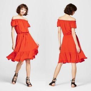 Target Mossimo Orange Flounce Off Shoulder  Dress